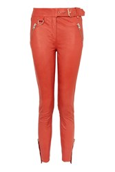 Topshop Real Leather Trousers Red