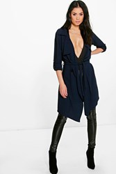Boohoo Waterfall Belted Trench Navy