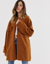 Moon River Long Teddy Coat Brown