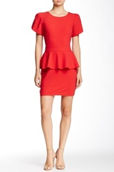 Vertigo Short Sleeve Peplum Dress Red