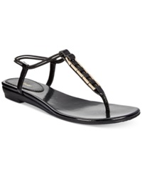 Style And Co. Edithe Embellished Flat Thong Sandals Women's Shoes Black