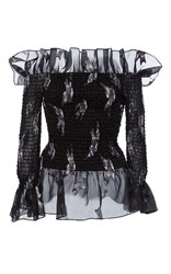 Christian Siriano Blue Jay Embroidered Organza Off The Shoulder Blouse Black