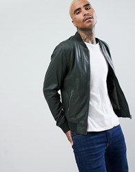 Goosecraft Leather Bomber Jacket In Forest Green Dark Green