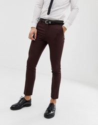 New Look Skinny Fit Suit Trousers In Burgundy Red