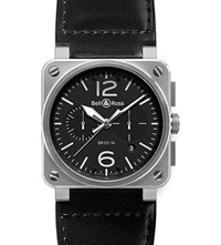 Bell And Ross Br0394 Bl Si Sca Aviation Steel Leather Watch Black
