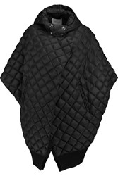 Balmain Quilted Padded Shell Hooded Coat Black