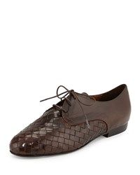 Sesto Meucci Naxos Woven Leather Oxford Dark Tan