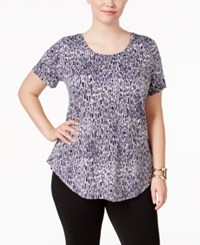 Jm Collection Plus Size Printed Short Sleeve Top Only At Macy's Blue Moda Animal