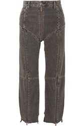 Vetements Levi's Distressed Zip Detailed High Rise Straight Leg Jeans Charcoal