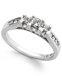 Macy's Diamond Three Stone Ring In 14K White Gold 1 2 Ct. T.W.