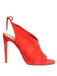 Aquazzura Ami Tie Back Suede Sandals Red