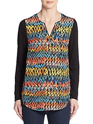 Kensie Chevron Print Woven Blouse Black Multi