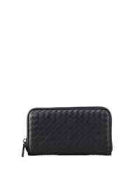 Bottega Veneta Continental Zip Around Wallet Black