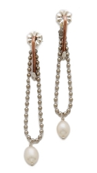 Rodarte Hook And Pearl Drop Earrings Copper Nickel Pearl
