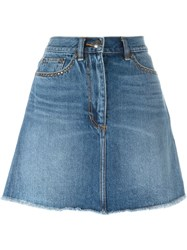 Marc By Marc Jacobs Sequinned Cherry Applique Denim Skirt Blue