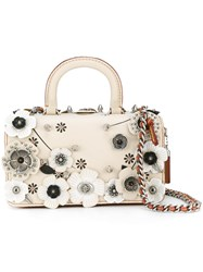 Coach Flower Embellished Tote Women Leather Metal Other One Size White