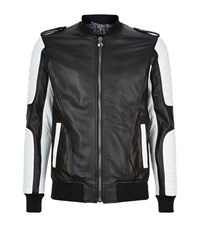 Philipp Plein Chelsea Leather Bomber Jacket Male Black