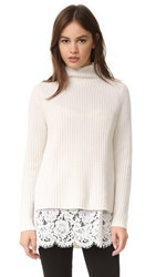 One By Sienna And Zac Cashmere Sweater With Lace Layer Winter White White
