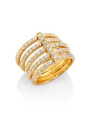 Carelle Moderne Pave Diamond And 18K Yellow Gold Penta Ring