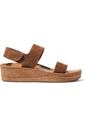 Pedro Garcia Lacey Croc Effect And Matte Suede Wedge Sandals Tan
