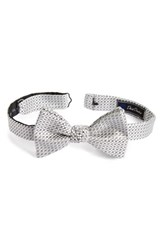 David Donahue Men's Geometric Silk Bow Tie Silver