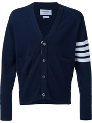 Thom Browne Striped Sleeve V Neck Cardigan Blue