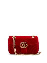 Gucci Gg Marmont Small Quilted Velvet Cross Body Bag Red