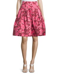 Oscar De La Renta Pop Art Floral Party Skirt Guava