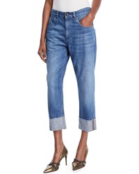 Brunello Cucinelli Straight Leg Cropped Jeans With Monili Trim Blue