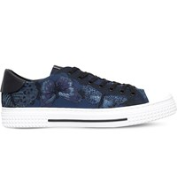 Valentino Butterfly Embroidered Canvas Trainers Navy