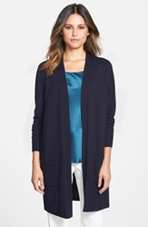 Lafayette 148 New York Silk And Wool Long Sleeve Cardigan Navy