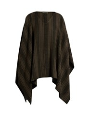 Denis Colomb Striped Camel Hair Poncho Black Multi