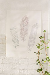 Plum And Bow Henna Feathers Art Print White