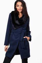 Boohoo Caroline Faux Fur Collar Belted Coat Navy