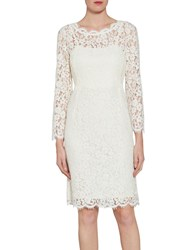 Gina Bacconi Lace Dress With Jewelled Flower Buttons Off White