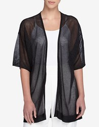 Catherine Malandrino Velma Sheer Open Knit Open Cardigan Black