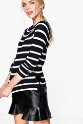 Boohoo Nautical Stripe Fisherman Jumper Navy