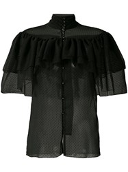 Rodarte Frilled Sheer Shirt Women Silk M Black