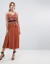 Three Floor Cami Strap Midi Dress With Lace And Pleated Skirt Rust Orange