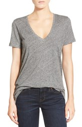 Women's Madewell 'Whisper' Cotton V Neck Tee Heather Pewter