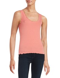 Design Lab Lord And Taylor Ribbed Tank Top Coral