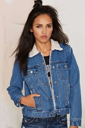 Nasty Gal It's What's On The Inside Shearling Denim Jacket