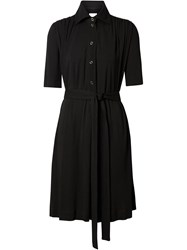 Burberry Short Sleeve Gathered Jersey Dress Black