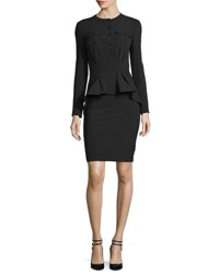 Tom Ford Long Sleeve Stretch Wool Peplum Dress Black