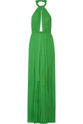 Emilio Pucci Pleated Silk Halterneck Gown Green