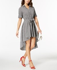 Emerald Sundae Juniors' High Low Gingham Shirtdress Black White Checker