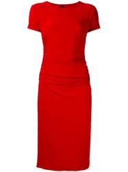 Norma Kamali Shortsleeved Fitted Dress Red