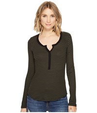 Three Dots Faux Henley Tapenade Women's Clothing Brown