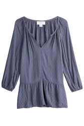Velvet Tunic Blouse Blue