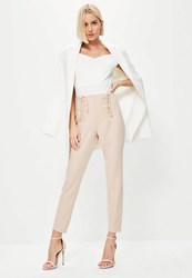 Missguided Pink Lace Up Corset Waist Cigarette Trousers